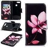 sinogoods Für Huawei Y6 2018 / Huawei Honor 7A Hülle, Premium PU Leder Schutztasche Klappetui Brieftasche Handyhülle, Standfunktion Flip Wallet Case Cover - Lotus