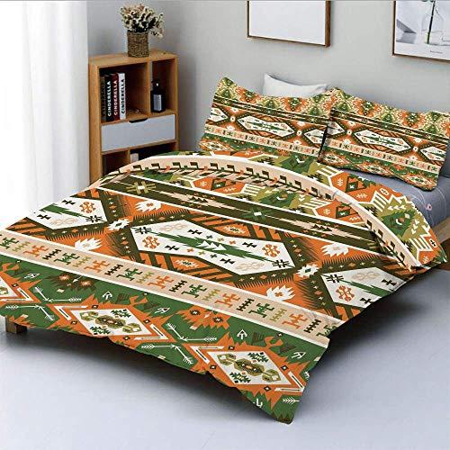 Set copripiumino, disegno vettoriale con tatuaggio stile maya cultura azteca strisce forme stampa decorativa set biancheria da letto decorativo 3 pezzi con 2 cuscini, ambra felce verde marrone, miglio
