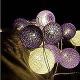 Morbuy Cadena de Luces para Algodón Bola, Decoración LED Blanco Cálido Guirnalda Luminosa Pilas 6cm Bola Hada Noche 10 Luz para Las Fiestas Jardines Casas Bodas (1.8M /10 Luces, Púrpura La Estrella)