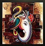 #9: SAF 'Ganesha' Framed Painting (Wood, 30 cm x 3 cm x 30 cm, Special Effect Textured)