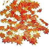 Gofriend, ghirlanda autunnale, 12fili (27,6 m), foglie d'acero rosso artificiali, vite, edera, vegetazione, decorazione a caduta da appendere per l'autunno e il giorno del Ringraziamento