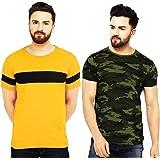 Leotude Men's Regular Fit Multi Color T Shirts (Pack of 2)