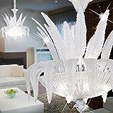 MIA Light Klassisch Kronleuchter Ø600mm/ Antik/Florentiner/ Weiß/Glas/ Lampe Leuchte Lüster Blätter Lüsterlampe Lüsterleuchte