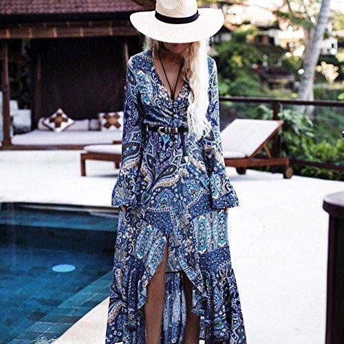 Minetom Donna Estate Bohemian Vestito Lungo Floreale Abito Da Spiaggia Retro Alla Moda Manica Lunga Spacco Cocktail Vestito Blu