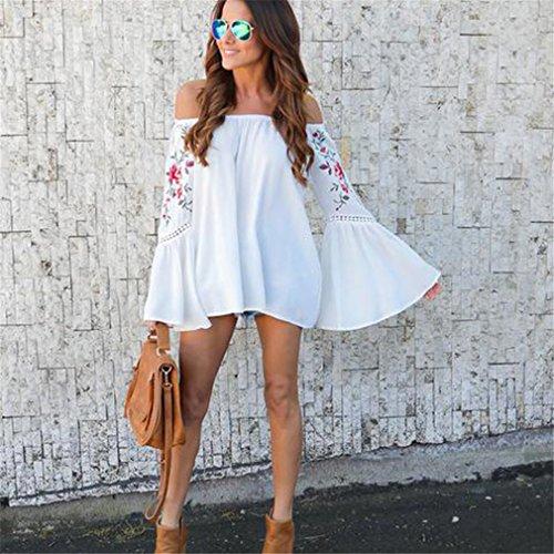 Yinew Damen Shirt Langarm T Shirt Schulterfreies Oberteil Damen Weiß L