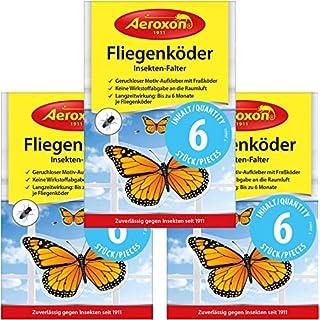 Aeroxon - Fliegenköder für Fenster - 3x6 = 18 Stück Sonderpackung - Ansprechender Aufkleber gegen Fliegen zur Anbringung am Fenster