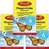 Aeroxon - Fliegenköder für Fenster - 3x6 = 18 Stück Sonderpackung - Ansprechender