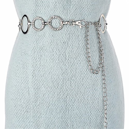 SAIBANGZI Meine Taille Kette Metal Elastisch Elastischen Taillengürtel Dekorativen Kleid mit Silbernen 130Cm