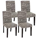 Mendler 4x Esszimmerstuhl Stuhl Lehnstuhl Littau ~ Textil mit Schriftzug, grau, dunkle Beine