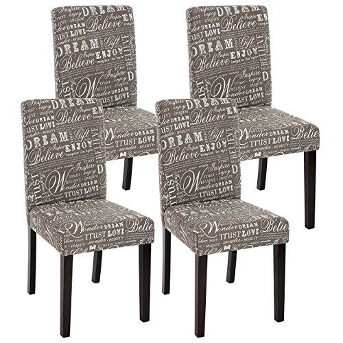 Mendler 4X Esszimmerstuhl Stuhl Küchenstuhl Littau ~ Textil mit Schriftzug, grau, dunkle Beine