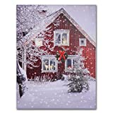 NIKKY HOME Dekorative erleuchtet Snow House LED Wand Art Prints Leinwand Drucke für Weihnachten Decor