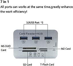 Sufi World INTERFACE USB3.0 and 3 Ports Usb Hub, Speed External Memory Card Reader USB 3.0 Hub 3 Port 7-in-1 High Speed, Small (e01)