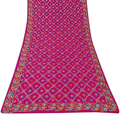 Indian Jahrgang bestickter antike Fertigkeit Stoff Saree Magenta Georgette Sari