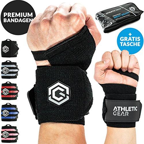 INNOVATION Handgelenk Bandagen mit Handschlaufe - 2er Set (60 cm) Handbandagen für Krafttraining, Fitness und Sport I Unisex Wrist Wrap Orthese Bandage Handgelenkstütze Stützbandage schwarz