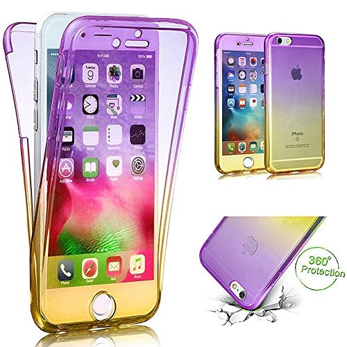 Cuatodia iPhone 7,Cover iPhone 7,Etsue 360 Gradi Ultra Sottile Tpu Transparente Completa Protettiva Caso Cover,Chiaro Cristallo Gradiente Disegno in Silicone Bumper Custodia di Protezione Ultra Slim T Viola+giallo