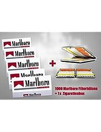 Marlboro - 1000 casquillos de filtro rojo + caja o estuche para cigarrillos a elegir, funda