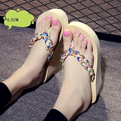 Estate Sandali Sandali di slip dei sandali delle ciabattine high-heeled (beige / nero / marrone) Colore / formato facoltativo Beige