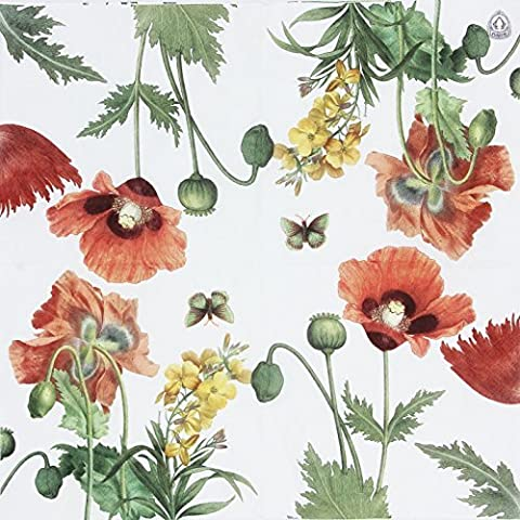 Printed Poppies Paper Napkins, Tea Party Shower Luncheon Serviettes, 20