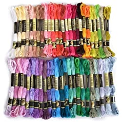 Stickgarn, 100% Baumwolle, 50x verschiedene farbige Garnknäuel von zhoke