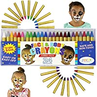 JOYIN 24 Colors Face Paint Crayon (3 INCH) Large Size Safe & Non-Toxic Face and Body Crayons Ultimate Party Pack including 6 METALLIC Colors for Halloween Makeup