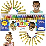 JOYIN 24 Colors Face Paint Crayon (3 INCH) Large Size Safe & Non-Toxic Face and Body Crayons Ultimate Party Pack including 6 METALLIC Colors