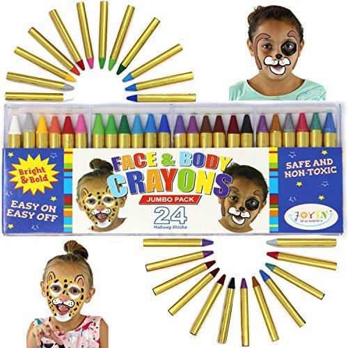 JOYIN 24 Crayon pour Visage Peinture, 7.6cm Crayons Maquillage Non-Toxiques pour Enfants, Idéal pour Halloween Maquillage, Fête d'anniversaire, Cosplay, Noël, Soirées à Thème