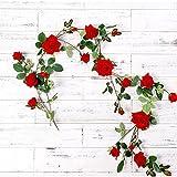 Mi Guoer Biber Rose Vine mit 17Köpfe Rosen und viele Blätter Künstliche Rose Blume Vine für Hochzeit Decor Klimaanlage Decor Dachboden Decor rot