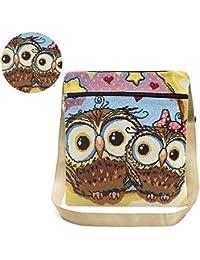 Facebecd Women Lucky Owl Printed Saft Zipper Bohemian Stylish Crossbody Bag Shoulder Bag Messenger Bag
