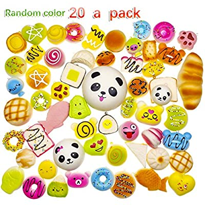 ZesGood 20pcs Squishies Toys Slow Rising Party Bags Fillers for Kids Soft Toys Squishy Bread Toys Key Phone Chain Bread/Buns Phone Charm Key Chain Strap Squishy Bread Toys Squishies Slow Rising (Random Colour)