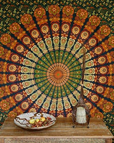 Guru-Shop Indisches Mandala Tuch, Wandtuch, Tagesdecke Mandala Druck - Grün/orange, Baumwolle, 210x240 cm, Bettüberwurf, Sofa Überwurf