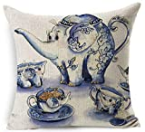 """Funny Cartoon Elephant Modeling Blue And White Porcelain Teapot Cotton Linen Decorative Throw Pillow Case Cushion Cover Creative Square 18 """"X18 """""""