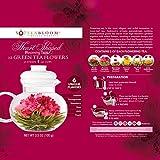 Teabloom Herzförmiger Blütentee – Geschenk-Set mit 12 zusammengestellten Blühenden Teeblumen - Grüner Tee + Jasmin, Granatapfel, Erdbeere, Rose, Litchi & Pfirsich - 3