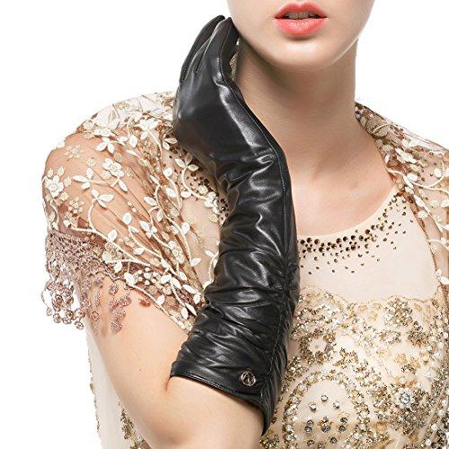 Nappaglo Damen Winter Lange Leder Handschuhe aus echtem Nappaleder Touchscreen Party Fausthandschuhe (S (Umfang der Handfläche:16.5-17.8cm), Schwarz(Touchscreen)) Echt-leder-handschuh, Handschuhe