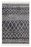 Urban grau 6396 182 040 - Hochflor Webteppich - Schöner Wohnen – moderner Berber Look - 4 Designs in Grau und Creme in 4 Größen. Hochflor, pflegeleicht, antistatisch, fußbodenheizungsgeeignet (80 x 150 cm)