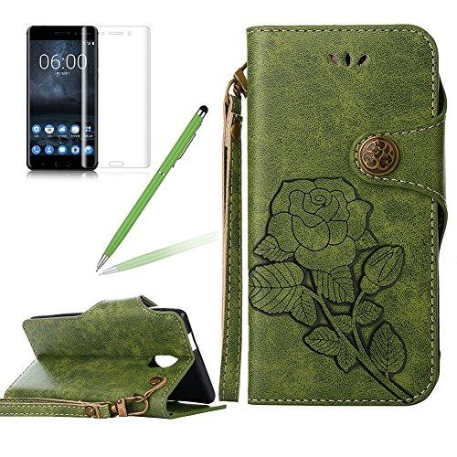 Girlyard Lederhülle für Nokia 3 Wallet Flip Case, Elegant Blumen Retro Floral Muster Design Schutzhülle mit Lanyard Strap Handyhülle Standfunktion Karteneinschub und Magnetverschluß Etui -- Grün