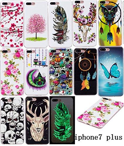 iPhone 7 Plus Hülle, E-Lush TPU Soft Silikon Tasche Transparent Schale Clear Klar Hanytasche für Apple iPhone 7 Plus (5.5 Zoll) Durchsichtig Rückschale Ultra Slim Thin Dünne Schutzhülle Weiche Flexibe Papillon Bleu