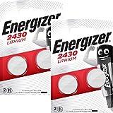 Lot de 4 piles bouton Energizer CR2430 - Au lithium - 3V