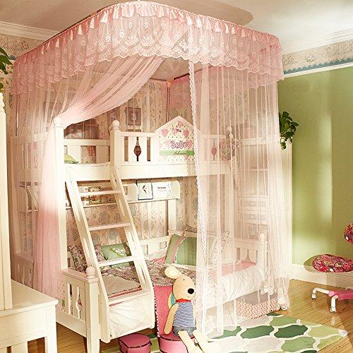 DexterityKing mosquito net Etagenbett Netze Kinderbett Etagenbett Höhe 1,2m/1,5m Doppelboden u-Rail Track Netze, doppelt-pink, Leiter Modelle mit Unterschrank gelten für 120-150 cm Bett (Länge 250 * 150 * Breite 260 Höhe)