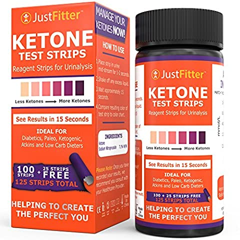 Just Fitter Ketone Test Strips. Lose Weight, Look and Feel Fabulous on a Low Carb Ketogenic Diet. Get Your Body Back! Accurately Measure Your Fat Burning Ketosis Levels in 15 Seconds. 125