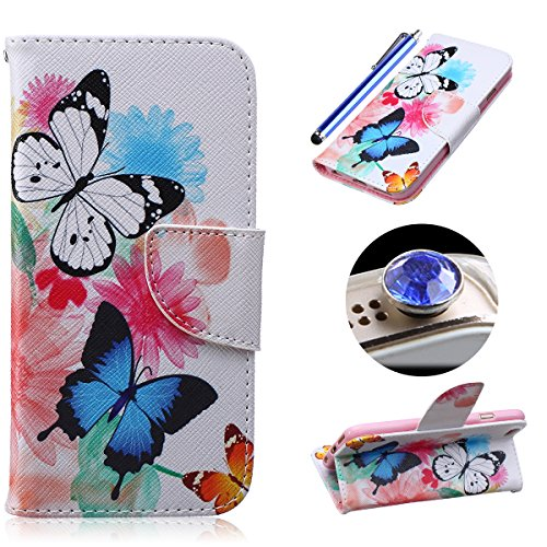 Etche Schutzhülle für iPhone 6 Plus/6S Plus Hülle, iPhone 6 Plus/6S Plus Wallet Case Tasche, iPhone 6 Plus/6S Plus Flip Cover Hüllen, Elegant niedlich hübsch Bunt Schmetterling Blumen Muster Pu Leder  blau Weiß Schmetterling