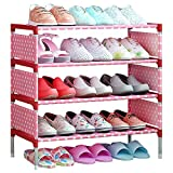 FKUO Schuhregal Einfach zusammengebautes nichtgewebtes 4 Tier-Schuhregal-Regal-Speicher-Organisator-Stand-Halter-halten Raum-angemessene Tür-Raumeinsparung (rosa Punkte, 59.5*29.5*64cm)