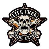 Patch Cranio su Stella 'Live Free Ride Free' per Giacca e Gilet Motociclista