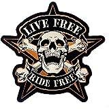 """Patch écusson Biker Skull Etoile """"Ride Free"""" (Petit format)"""