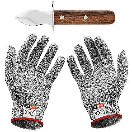 Oyster Knife Set mit Austernmesser und Schnittfeste Handschuhe Austernöffner und Schnittschutzhandschuhe für Muscheln oder Hartkäse geeignet - Oyster Knife (Küche, Gartenarbeit, DIY) (Groß(L))