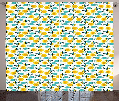 FAFANIQ Fish Curtains, Fish Pattern with Simple Silhouette Style Design Ornamental Aquarium,...