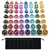 SmartDealsPro 8 x 7-Die Series 8 Colors Sparkle Dungeons and Dragons DND RPG MTG Table Games Dice