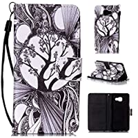 Samsung Galaxy A3 2016 Leather Case + Free Tempered Glass Screen Protector, BoxTii® [Slim Fit] PU Flip Wallet Case with [Hand Strap] [Magnetic Closure] [Card/Cash Slots] [Kickstand], Colorful Pattern Design Anti-Scratch Elegant Folder Folio Wallet for Samsung Galaxy A3 2016 (#4 Tree)