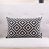 Geometrische Kissenbezug aus Baumwolle schwarz und weiß/einfach und modern Sofa-Kissen/Kissen Nachttischlampe/Kissen Lendenkissen, D, 30x50cm(12x20inch)versionA