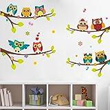 WandSticker4U® - Muursticker 9 schattige uilen op takken I wandafbeeldingen: 120 x 100 cm I raamafbeeldingen kinderen boom ta