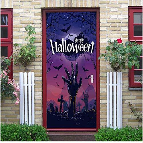 Newberli Halloween Dekoration Hände Aus Dem Grab Kreuz Lila Schwarze Nacht Fledermäuse Fliegen Tür Aufkleber Beängstigend Stil Aufkleber Für Schlafzimmer